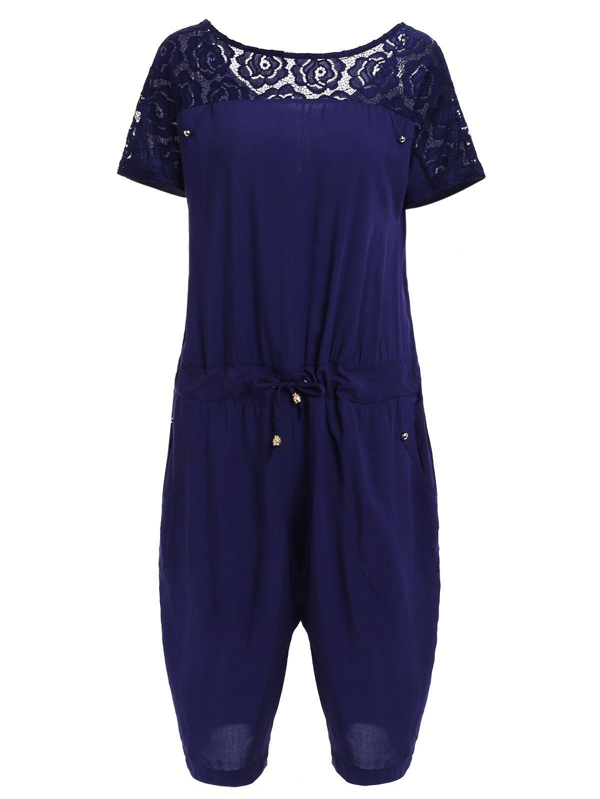 Casual Style Round Neck Short Sleeve Lace Spliced Plus Size Women's Romper - PURPLISH BLUE XL