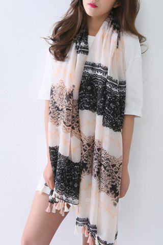 Chic Lace Pattern Tassel Pendant Women's Voile Scarf - PINK