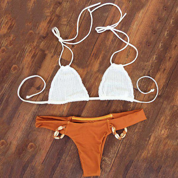 Alluring Halter Neck Beaded Self-Tie Women's Bikini Set - S ORANGE