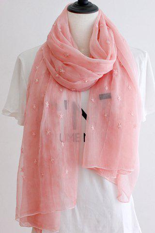 Chic Five-Pointed Stars Embroidery Solid Color Women's Voile Scarf -  PINK