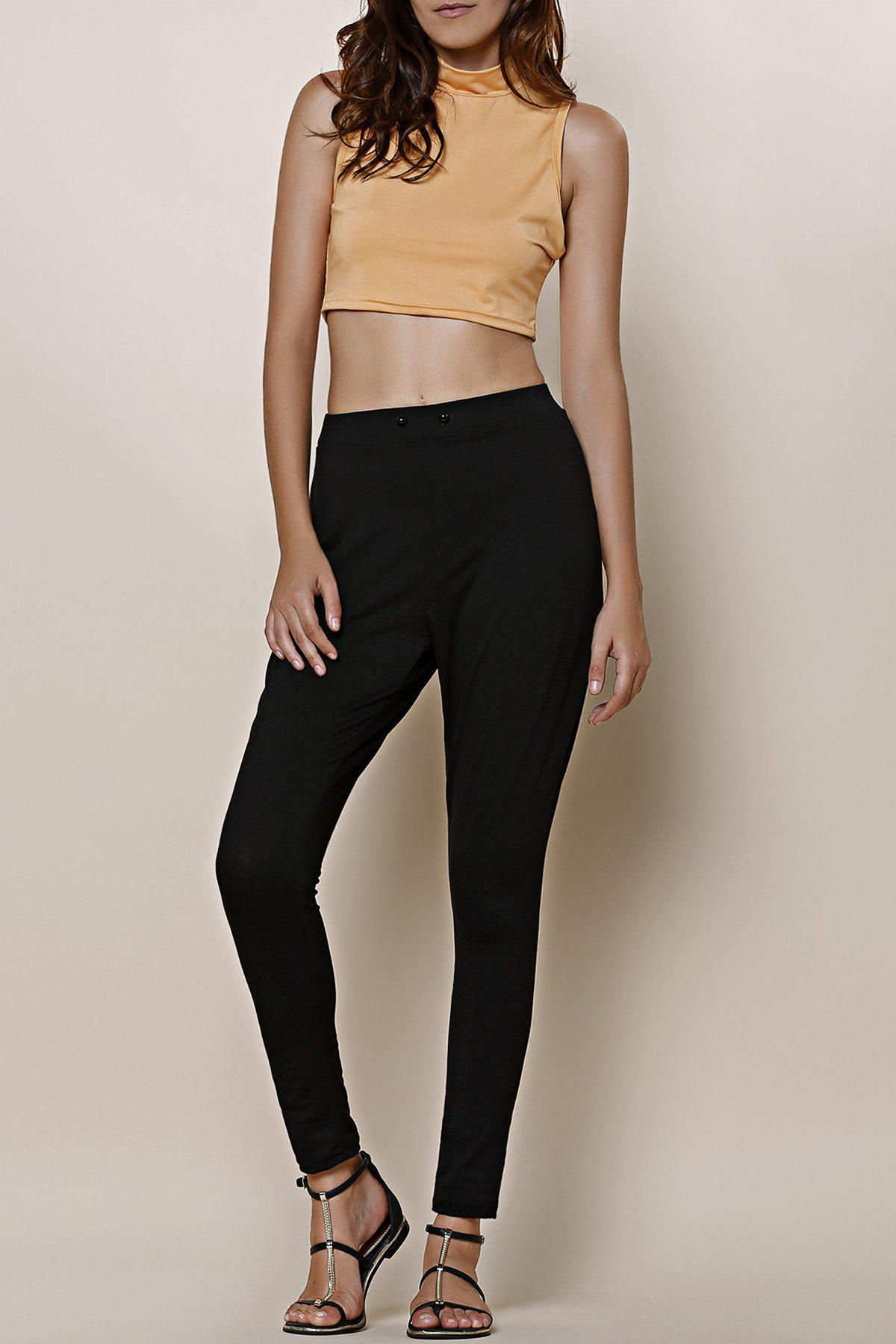Active Round Collar Solid Color Crop Top + High Waist Ankle Pants Twinset For Women - BLACK M