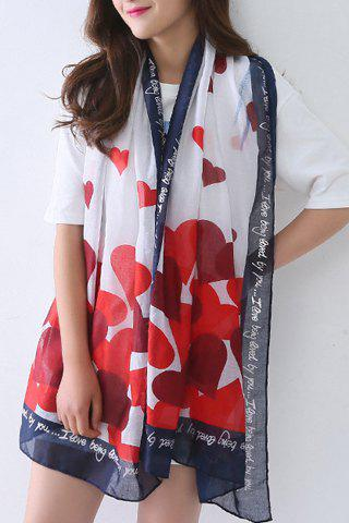 Chic Red Hearts and Hand Written Letters Pattern Women's Voile Scarf - WHITE