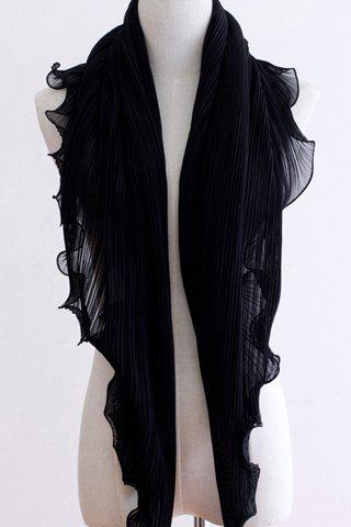 Chic Solid Color Flouncing Pleated Wearable Women's Chiffon Pashmina - BLACK