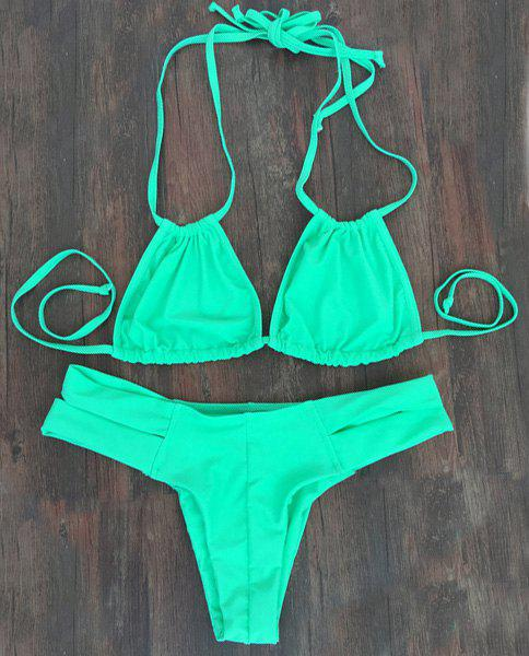 Alluring Solid Color Double Halter Neck Women's Bikini Set - GREEN S