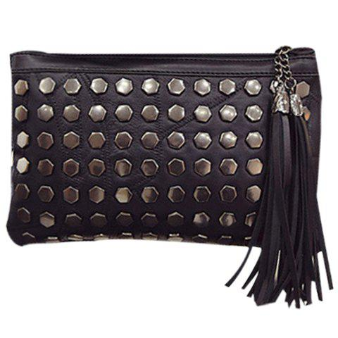 Stylish Tassels and Black Color Design Women's Crossbody Bag - BLACK