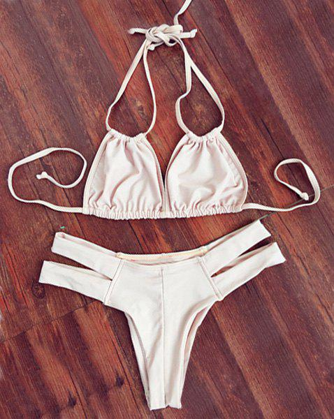 Stylish Solid Color Double Halter Neck Women's Bikini Set - OFF WHITE S