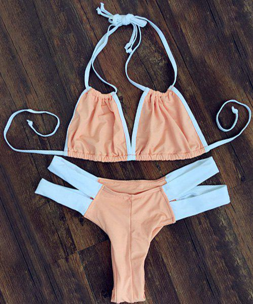 Stylish Color Block Double Halter Neck Women's Bikini Set - ORANGEPINK M