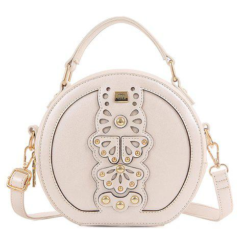 Charming Rivet and Round Shape Design Women's Crossbody Bag -  OFF WHITE