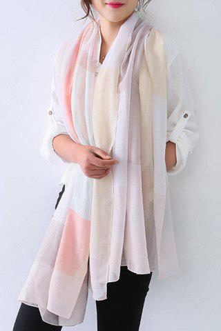 Chic Big Plaid Pattern Women's Voile Scarf - PINK