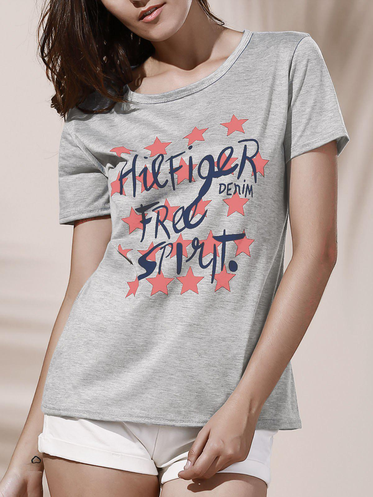 Star Graphic Printed T-ShirtWomen<br><br><br>Size: S<br>Color: GRAY