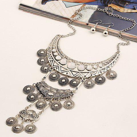 A Suit of Fake Gem Embossed Coin Necklace and Earrings - SILVER/WHITE