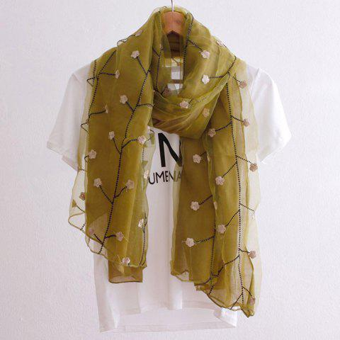 Chic Flower and Tree Branch Embroidery Women's Double Organza Scarf - GINGER