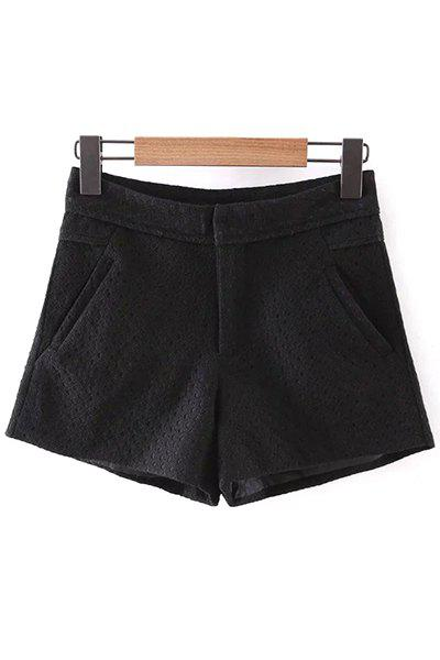 Trendy Solid Color Pockets Lace Shorts For Women - BLACK L