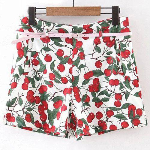 Stylish High Waist Cherry Shape Belted Shorts For Women - RED L