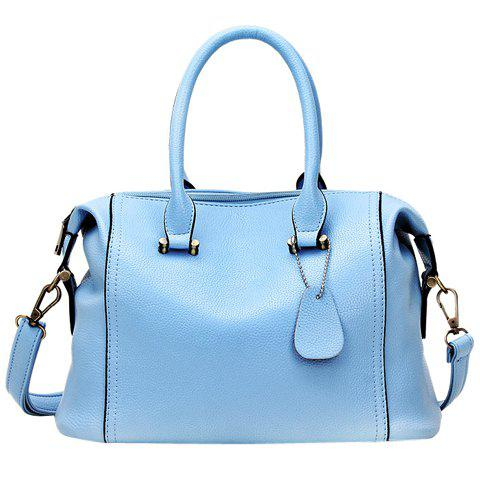 Vintage Solid Color and PU Leather Design Women's Tote Bag - LIGHT BLUE