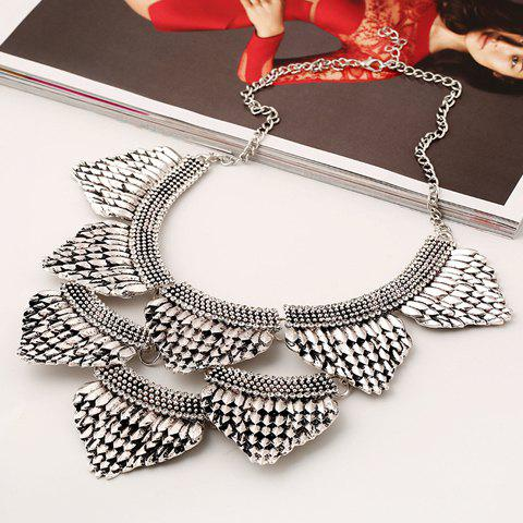 Rhinestone Triangle Fish Scale Necklace - SILVER