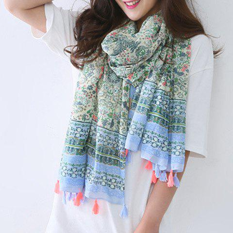 Chic Paisley and Flower Pattern Tassel Pendant Women's Scarf - GREEN
