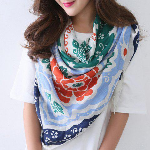 Chic Handpainted Ethnic Flowers Pattern Fringed Edge Women's Square Scarf - LIGHT BLUE