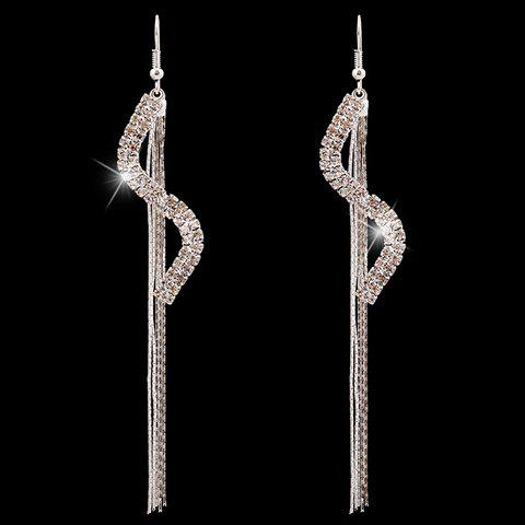 Pair of Charming Rhinestoned S-Shaped Earrings For Women