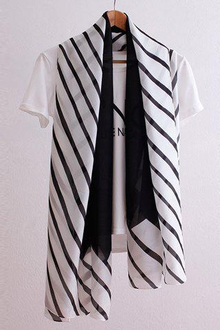 Chic Twill and Wavy Stripe Pattern Womens Chiffon ScarfAccessories<br><br><br>Color: WHITE AND BLACK