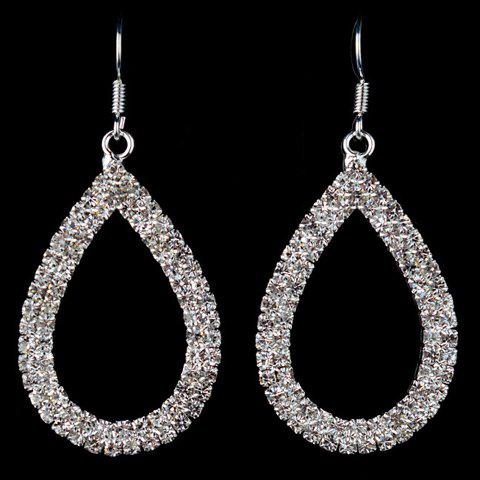 Pair of Charming Rhinestoned Water Drop Earrings Jewelry For Women -  SILVER