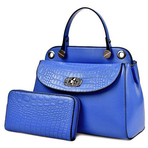 Elegant Solid Colour and Embossing Design Women's Tote Bag - BLUE