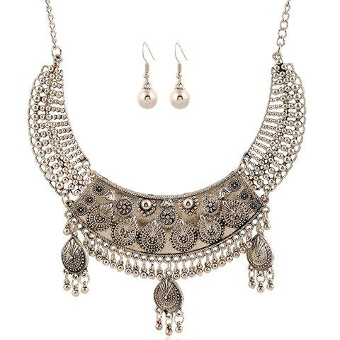 Geometric Bead Tassel Necklace and Earrings - SILVER