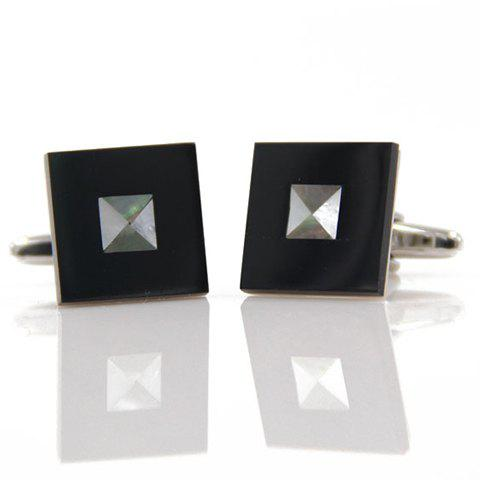 Pair of Stylish Rivet Embellished Men's Square Cufflinks