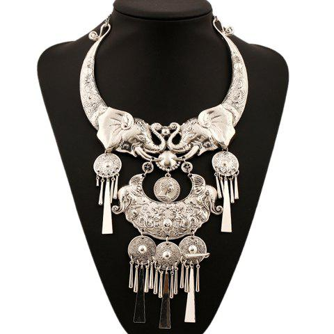 Carving Elephant Fringed Necklace - SILVER