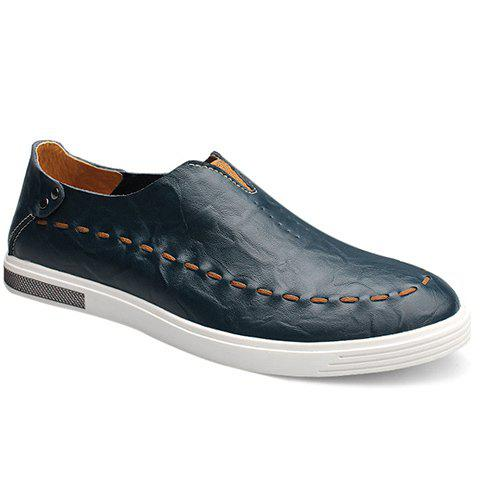 Fashionable Elastic and PU Leather Design Men's Casual Shoes - BLUE 44