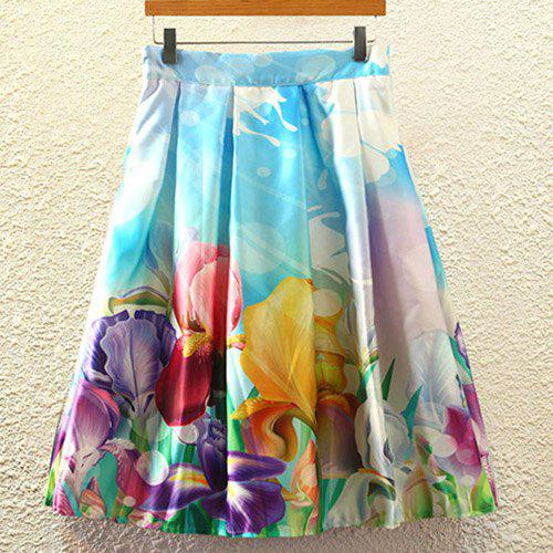Women's High Waisted Floral Print A Line Skirt - LIGHT BLUE ONE SIZE(FIT SIZE XS TO M)