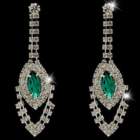 Pair of Gorgeous Faux Crystal Oval Earrings For Women - GREEN