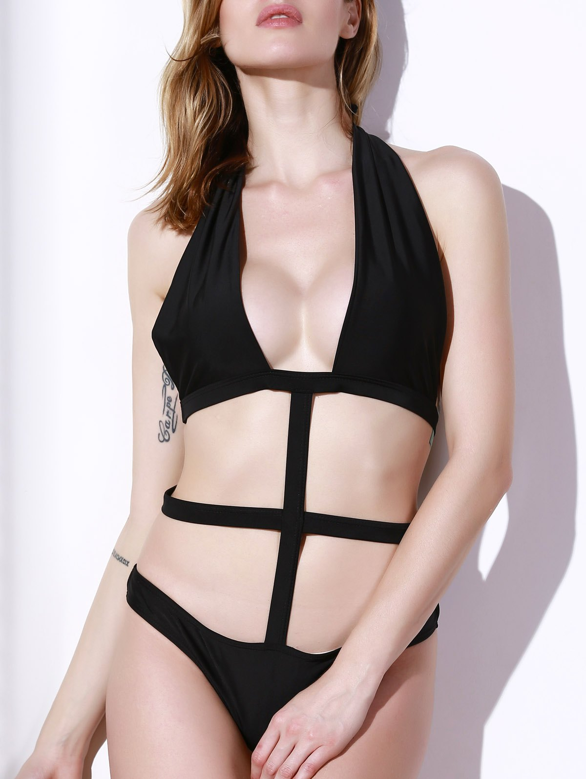 Sexy Hollow Out Solid Color Halter One-Piece Swimsuit For Women