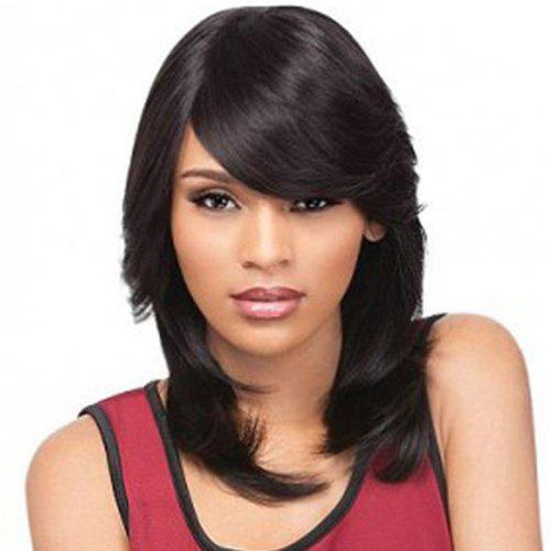 Fashion Heat Resistant Fiber Long Layered Wig For Women - BLACK