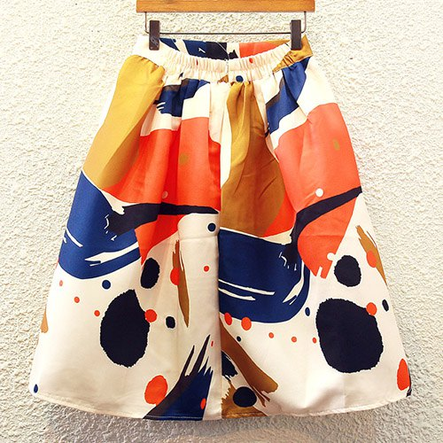 Cute Women's High-Waisted Print A-Line Skirt - ORANGE ONE SIZE(FIT SIZE XS TO M)
