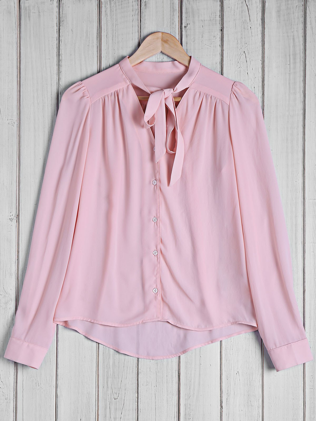 Stylish Women's Bow Tie Collar Solid Color Long Sleeve Blouse - PINK S