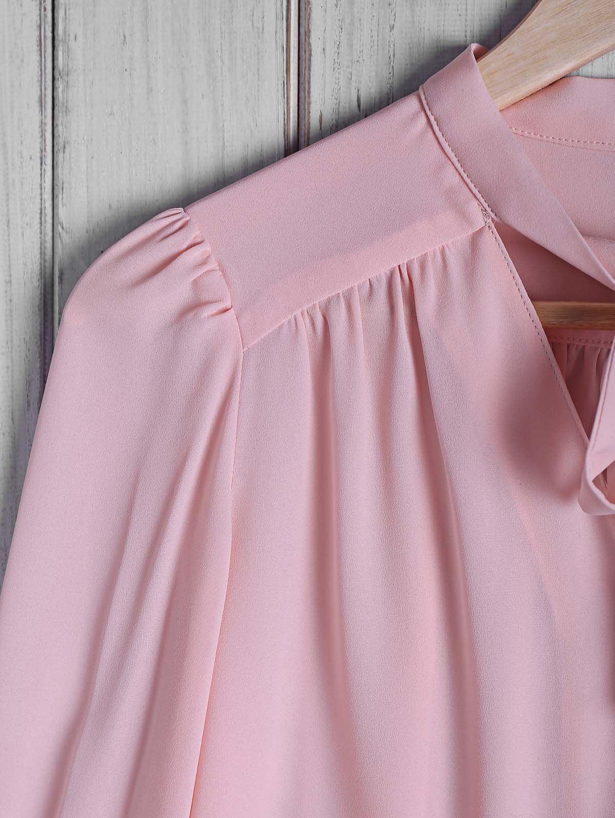 Stylish Women's Bow Tie Collar Solid Color Long Sleeve Blouse - PINK M