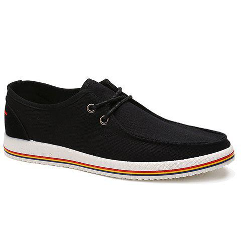 Trendy Lace-Up and Splicing Design Men's Canvas Shoes - BLACK 43