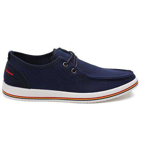 Trendy Lace-Up and Splicing Design Men's Canvas Shoes - BLUE 39
