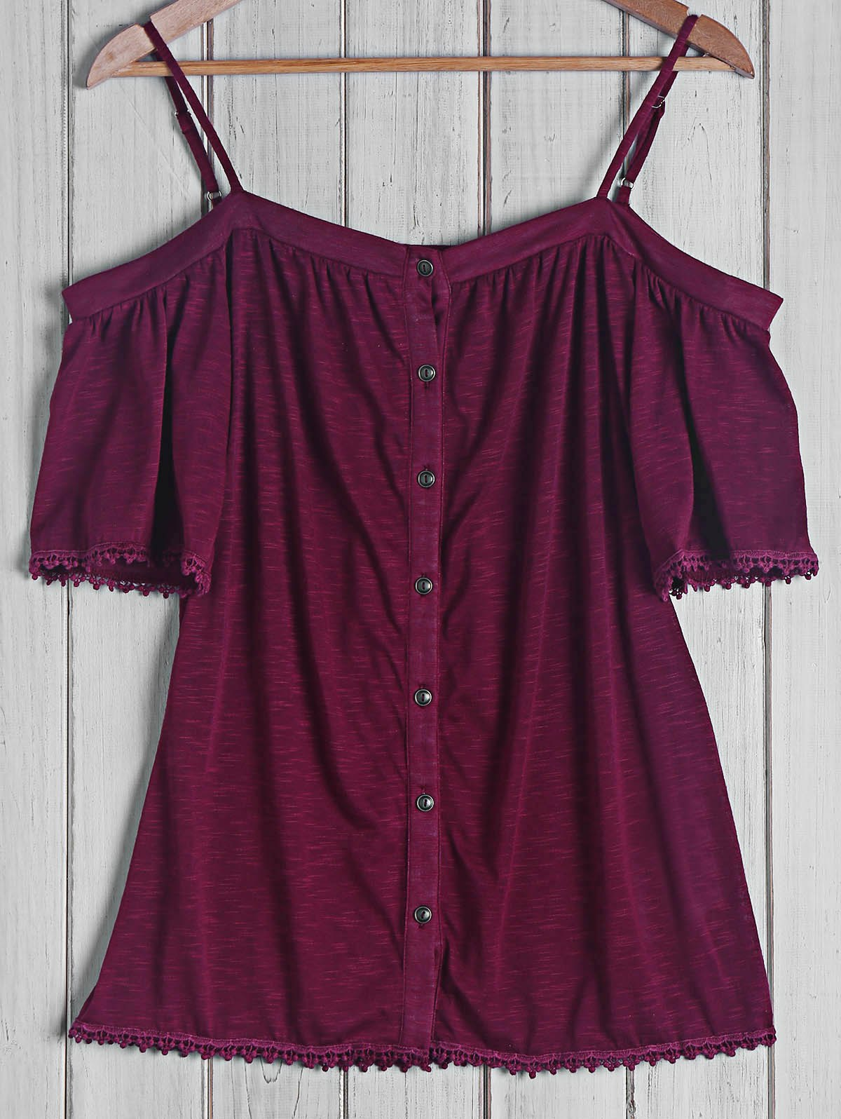 Sexy Women's Strappy Short Sleeve Button Top - BRICK RED S