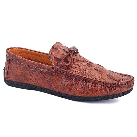 Fashionable PU Leather and Embossing Design Men's Casual Shoes - BROWN 42