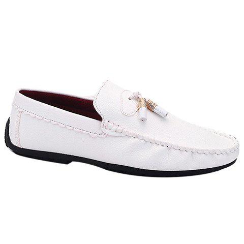 Fashionable Metal and Stitching Design Men's Casual Shoes - WHITE 44