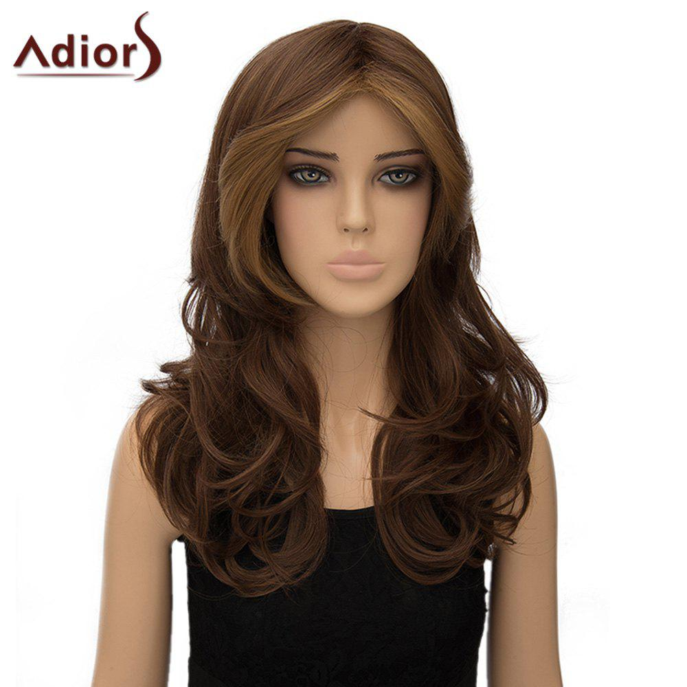 Fluffy Wavy Middle Part Fashion Dark Brown Highlight Long Synthetic Adiors Wig For Women