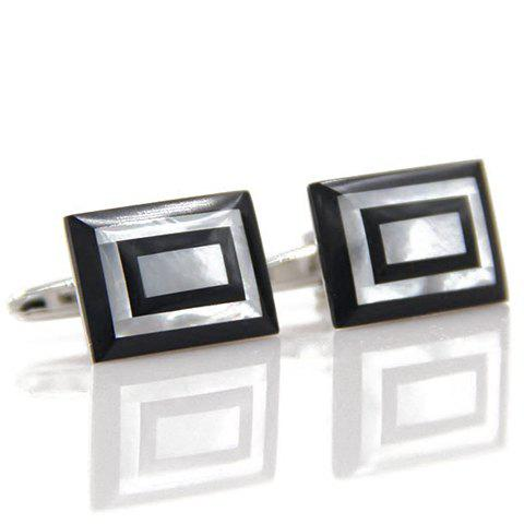 Pair of Stylish Men's Photo Frame Rectangle Shape Cufflinks - BLACK