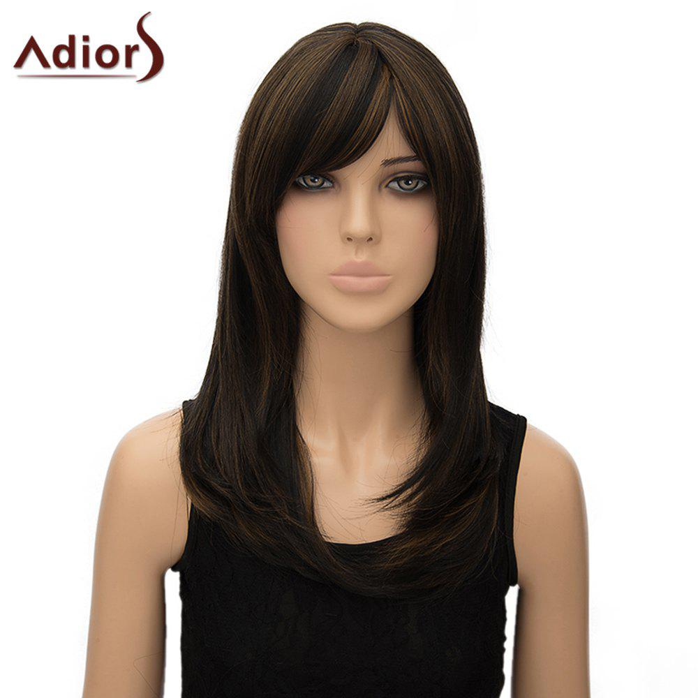 Charming Long Dark Brown Mixed Synthetic Straight Tail Adduction Side Bang Adiors Wig For Women