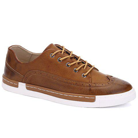 Fashionable PU Leather and Engraving Design Men's Casual Shoes - BROWN 40