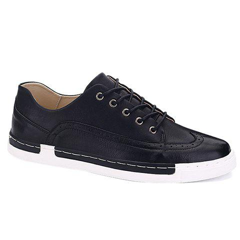 Fashionable PU Leather and Engraving Design Men's Casual Shoes - BLACK 40