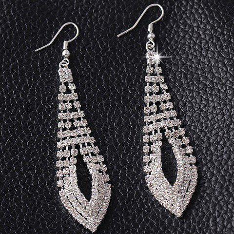 Pair of Chic Style Rhinestone Hollow Out Geometric Earrings For Women - SILVER