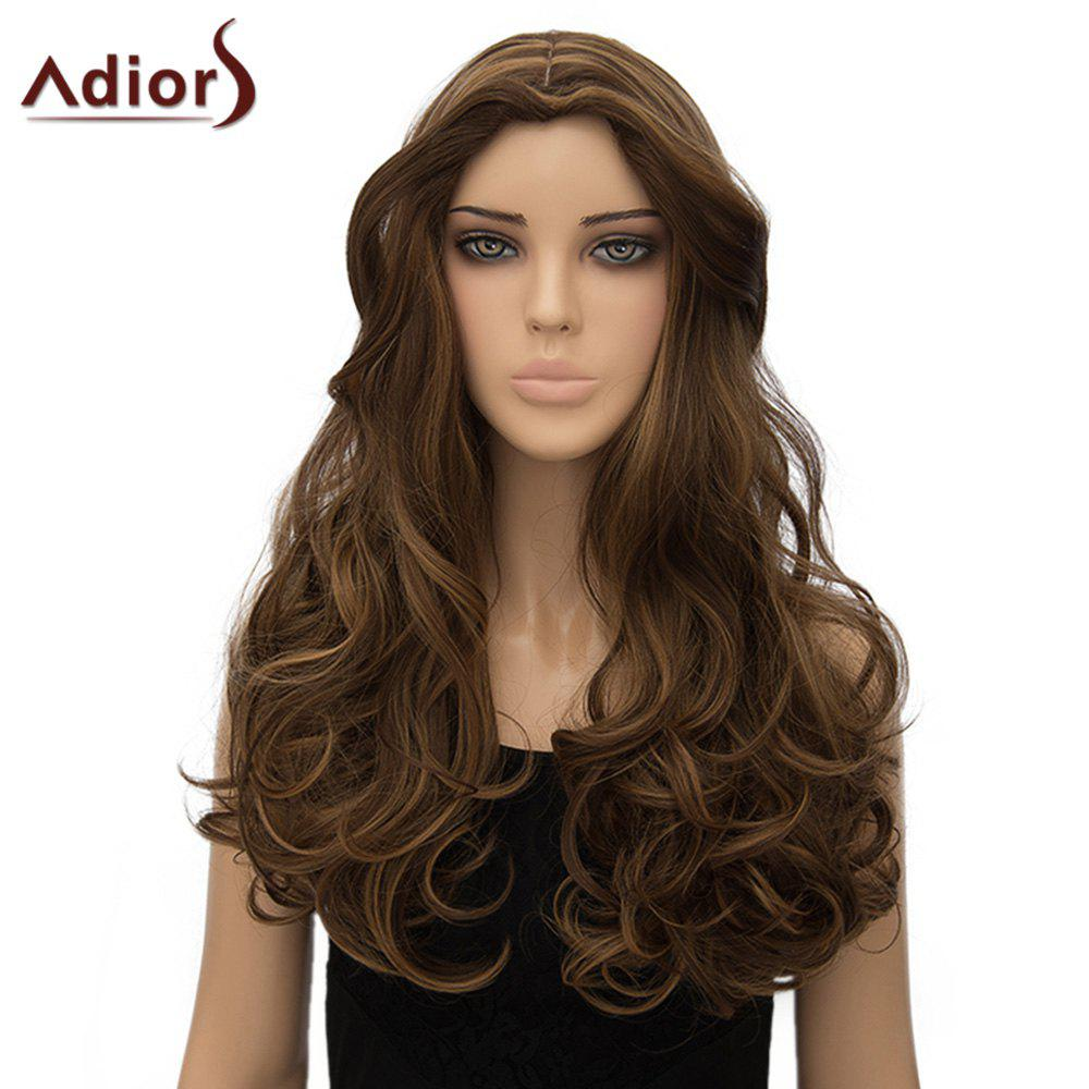 Shaggy Long Wave Synthetic Stylish Dark Brown Mixed Middle Part Women's Adiors Wig - COLORMIX
