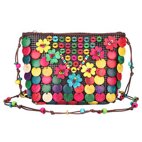 Bohemian Flower and Color Block Design Women's Crossbody Bag - COLORMIX